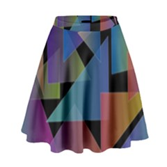 Triangle Gradient Abstract Geometry High Waist Skirt
