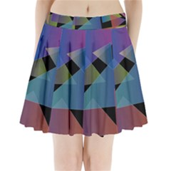 Triangle Gradient Abstract Geometry Pleated Mini Skirt