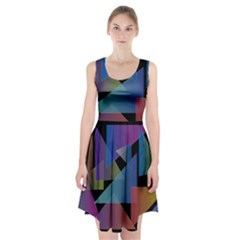 Triangle Gradient Abstract Geometry Racerback Midi Dress