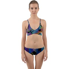 Triangle Gradient Abstract Geometry Wrap Around Bikini Set
