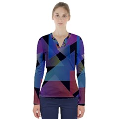 Triangle Gradient Abstract Geometry V Neck Long Sleeve Top