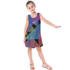 Triangle Gradient Abstract Geometry Kids  Sleeveless Dress