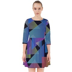 Triangle Gradient Abstract Geometry Smock Dress