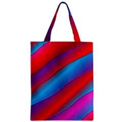 Diagonal Gradient Vivid Color 3d Zipper Classic Tote Bag