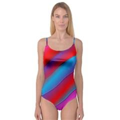 Diagonal Gradient Vivid Color 3d Camisole Leotard