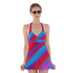 Diagonal Gradient Vivid Color 3d Halter Dress Swimsuit
