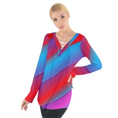 Diagonal Gradient Vivid Color 3d Tie Up Tee