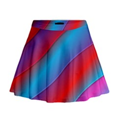 Diagonal Gradient Vivid Color 3d Mini Flare Skirt
