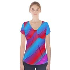 Diagonal Gradient Vivid Color 3d Short Sleeve Front Detail Top