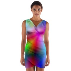 Course Gradient Background Color Wrap Front Bodycon Dress