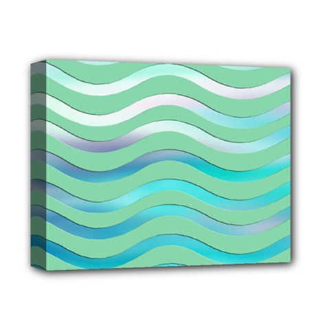 Abstract Digital Waves Background Deluxe Canvas 14  X 11