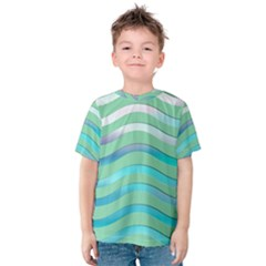 Abstract Digital Waves Background Kids  Cotton Tee