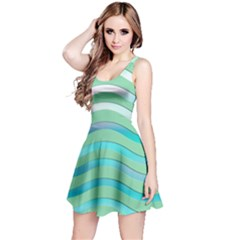Abstract Digital Waves Background Reversible Sleeveless Dress