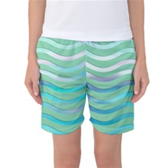 Abstract Digital Waves Background Women s Basketball Shorts