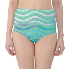 Abstract Digital Waves Background High Waist Bikini Bottoms