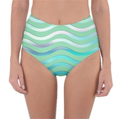 Abstract Digital Waves Background Reversible High Waist Bikini Bottoms