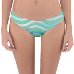 Abstract Digital Waves Background Reversible Hipster Bikini Bottoms