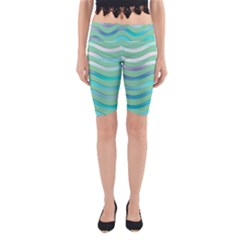 Abstract Digital Waves Background Yoga Cropped Leggings