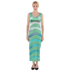 Abstract Digital Waves Background Fitted Maxi Dress