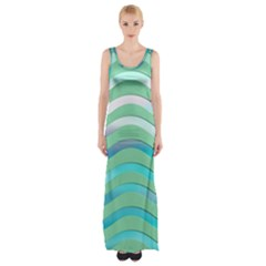 Abstract Digital Waves Background Maxi Thigh Split Dress