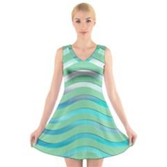 Abstract Digital Waves Background V Neck Sleeveless Skater Dress