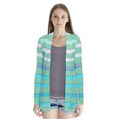Abstract Digital Waves Background Drape Collar Cardigan