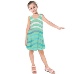 Abstract Digital Waves Background Kids  Sleeveless Dress