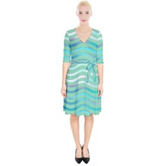 Abstract Digital Waves Background Wrap Up Cocktail Dress
