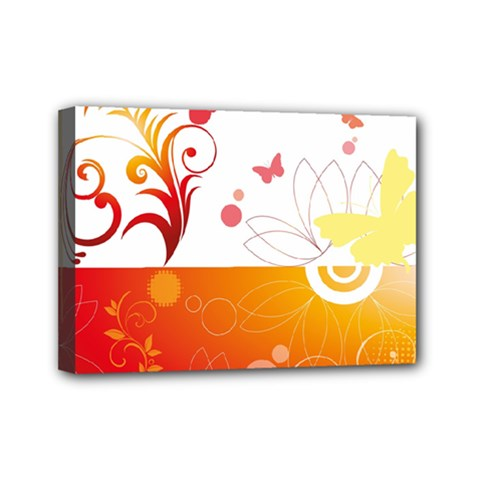 Spring Butterfly Flower Plant Mini Canvas 7  X 5