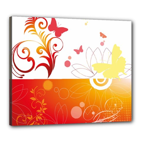 Spring Butterfly Flower Plant Canvas 24  X 20