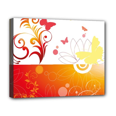 Spring Butterfly Flower Plant Deluxe Canvas 20  X 16