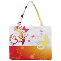Spring Butterfly Flower Plant Mini Tote Bag