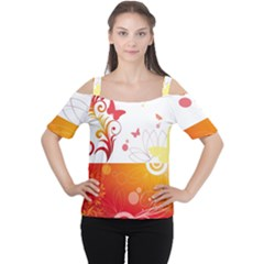 Spring Butterfly Flower Plant Cutout Shoulder Tee