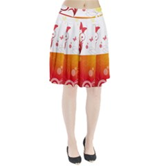 Spring Butterfly Flower Plant Pleated Skirt