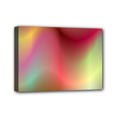Colorful Colors Wave Gradient Mini Canvas 7  X 5