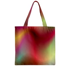 Colorful Colors Wave Gradient Zipper Grocery Tote Bag