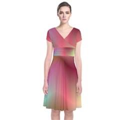 Colorful Colors Wave Gradient Short Sleeve Front Wrap Dress