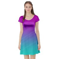 Background Pink Blue Gradient Short Sleeve Skater Dress