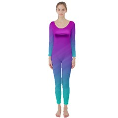 Background Pink Blue Gradient Long Sleeve Catsuit