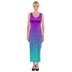Background Pink Blue Gradient Fitted Maxi Dress