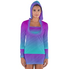 Background Pink Blue Gradient Long Sleeve Hooded T Shirt