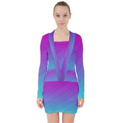 Background Pink Blue Gradient V Neck Bodycon Long Sleeve Dress