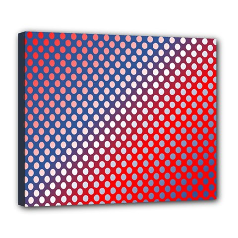 Dots Red White Blue Gradient Deluxe Canvas 24  X 20