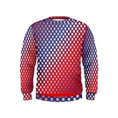 Dots Red White Blue Gradient Kids  Sweatshirt