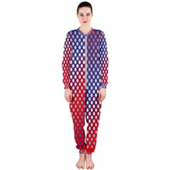 Dots Red White Blue Gradient Onepiece Jumpsuit (ladies)