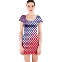 Dots Red White Blue Gradient Short Sleeve Bodycon Dress