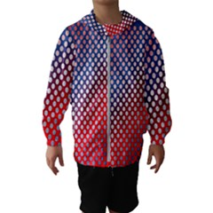 Dots Red White Blue Gradient Hooded Wind Breaker (kids)