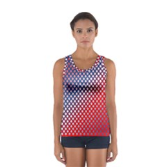 Dots Red White Blue Gradient Sport Tank Top