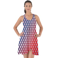 Dots Red White Blue Gradient Show Some Back Chiffon Dress