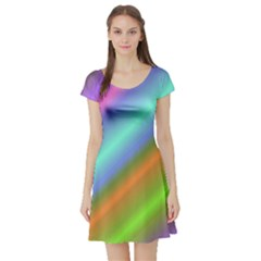 Background Course Abstract Pattern Short Sleeve Skater Dress